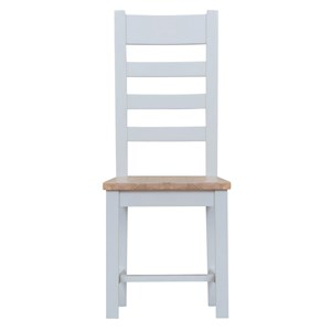 Manor House Grey Ladder Back Chair Wooden Seat