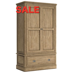 French Oak Double Wardrobe 2 Door 1 Drawer