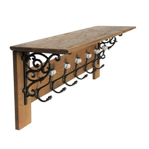 Solid oak coat rack six hooks