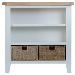 Manor House Grey Small Wide Bookcase