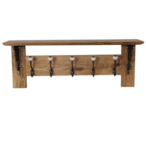 Solid oak five hook coat rack