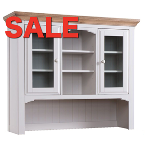 Denby Grey Dresser Top 2 Glass Doors Middle Shelf