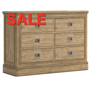 French Oak 3 by 3 Wide Chest of Drawers