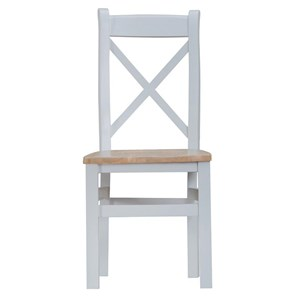 Manor House Grey Cross Back Wooden Seat