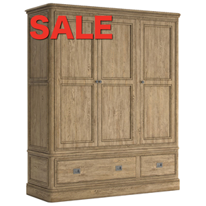 French Oak Triple Wardrobe 3 Door 2 Drawer