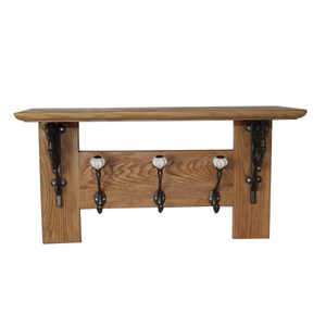 Solid oak three hook coat rack