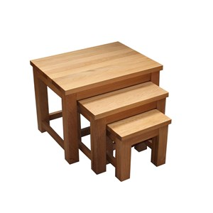 Oak Nest Of Tables Three Super Chunky