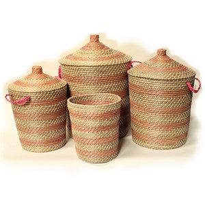 Ali Baba Storage Baskets Pink And white Pattern
