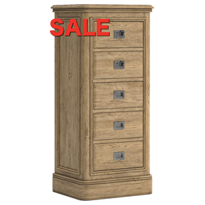 French Oak 5 drawer Tall Chest