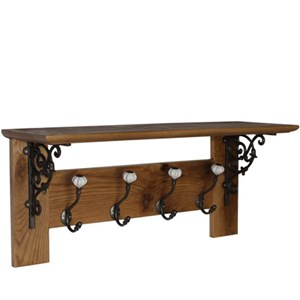 Solid oak four hook coat rack